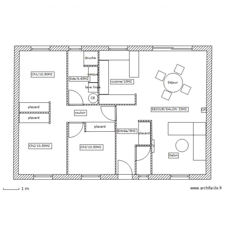 Plan plan 1 pi ce 93 m2 dessin par eric pruvost for Plan maison d habitation