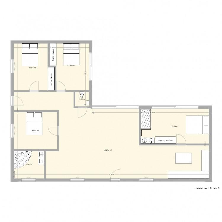 plan maison 2 l 130m2 plan 7 pi ces 133 m2 dessin par downchris. Black Bedroom Furniture Sets. Home Design Ideas