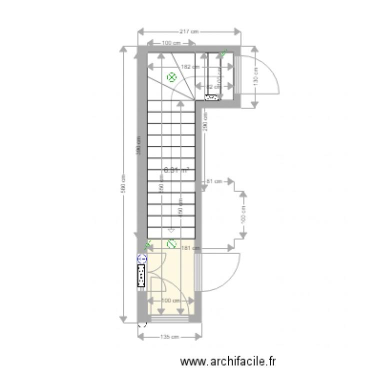 Cage escalier plan 1 pi ce 6 m2 dessin par xanova for Tableau pour cage escalier