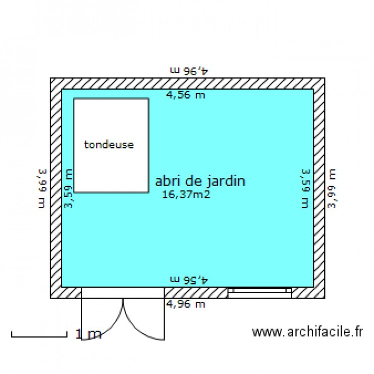 abri de jardin de moins de 20m shob plan 1 pi ce 16 m2 dessin par remikirk. Black Bedroom Furniture Sets. Home Design Ideas