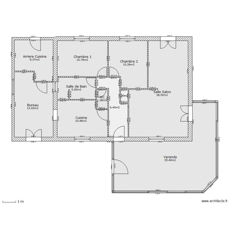 Maison et veranda plan 11 pi ces 131 m2 dessin par gillus - Veranda plan de campagne ...