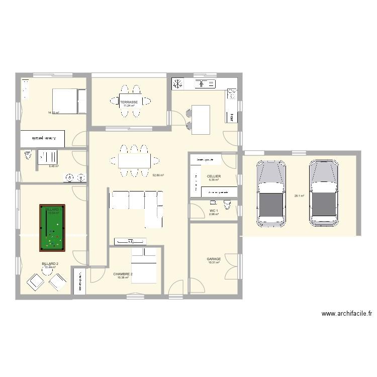 rez de chauss plan 12 pi ces 204 m2 dessin par anamee. Black Bedroom Furniture Sets. Home Design Ideas