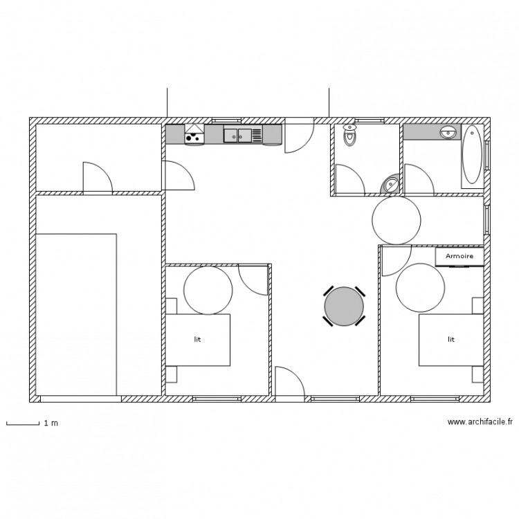 maison au norme handicap avc zone plan 7 pi ces 113 m2 dessin par kiman05. Black Bedroom Furniture Sets. Home Design Ideas