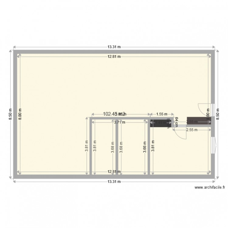 maison 100m plan 1 pi ce 102 m2 dessin par miloue. Black Bedroom Furniture Sets. Home Design Ideas