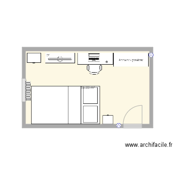 Chambre plan 1 pi ce 16 m2 dessin par quentin7791 for Chambre one piece
