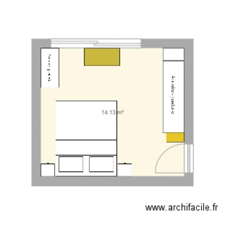 Grande chambre plan 1 pi ce 14 m2 dessin par akuvido for Chambre one piece