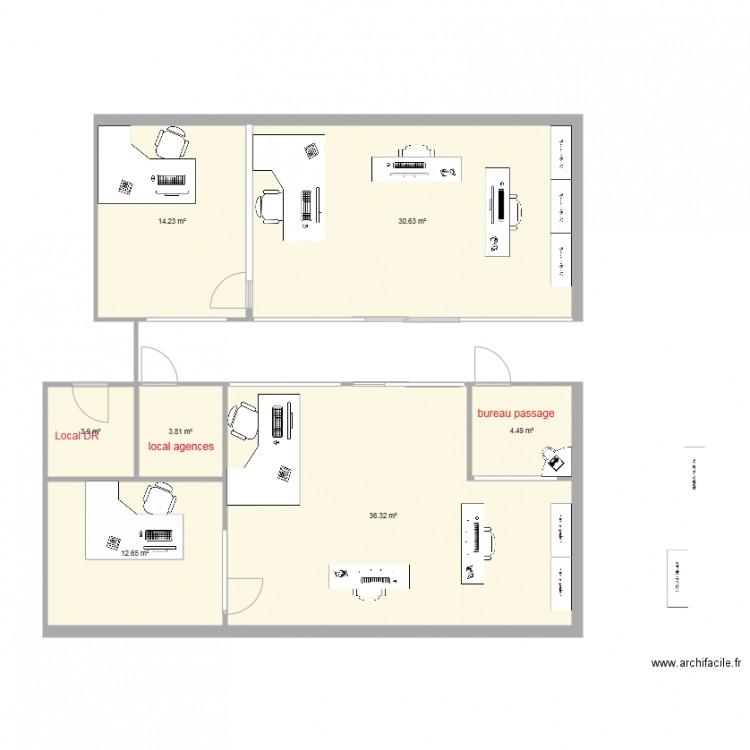 Bureau deux agence plan 7 pi ces 106 m2 dessin par nici for Nombre de m2 par personne bureau