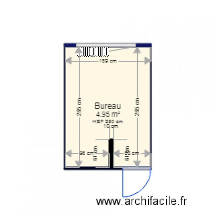 Bureau eysines plan 1 pi ce 5 m2 dessin par barbenault for Nombre de m2 par personne bureau