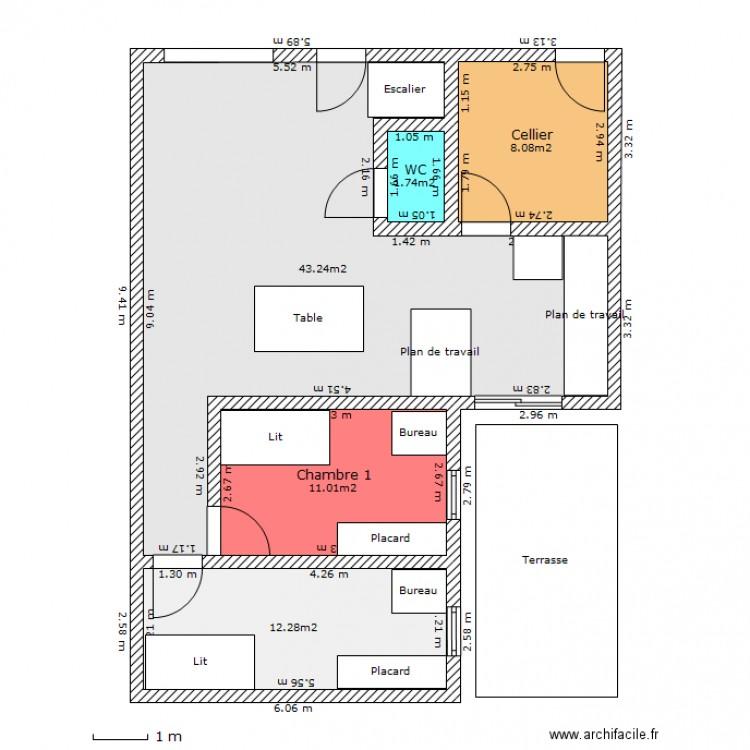 Maison en bois rdc plan 5 pi ces 76 m2 dessin par yamu for Plan de maison 5 pieces