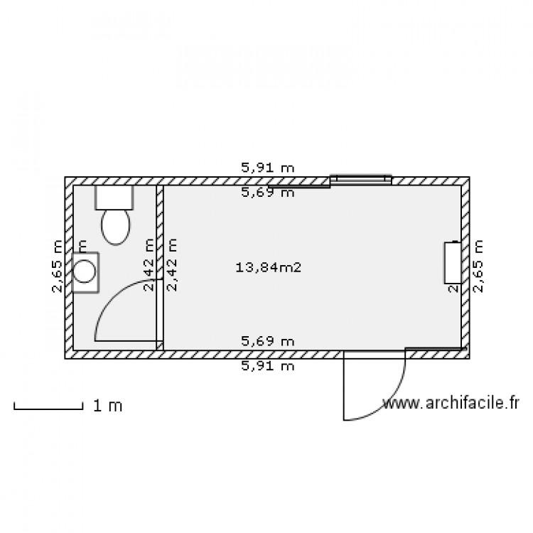 Conteneur bureau avec sanitaires plan 1 pi ce 14 m2 for Conteneur appartement