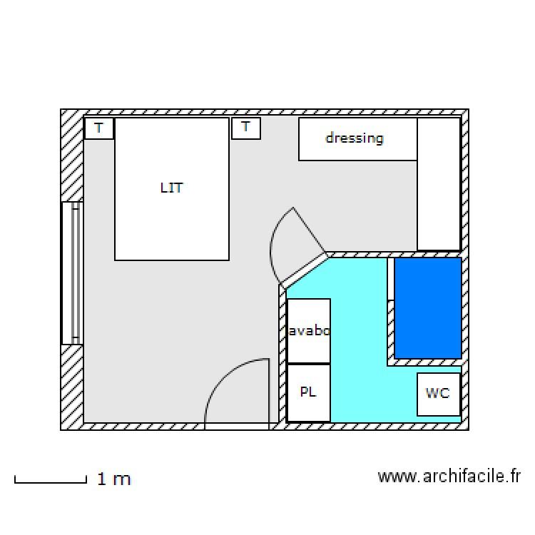 suite parentale chagnolet 5 plan 3 pi ces 22 m2 dessin. Black Bedroom Furniture Sets. Home Design Ideas