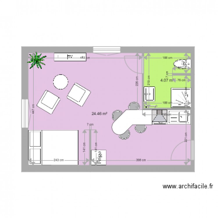 appartement 1er tage droit plan 2 pi ces 29 m2 dessin par lucan. Black Bedroom Furniture Sets. Home Design Ideas
