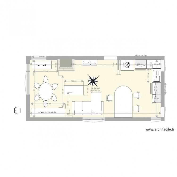 Plan cuisine avec cotation 03 plan 1 pi ce 37 m2 dessin for Plan maison avec cotation