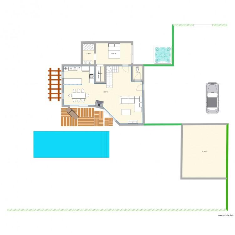 rez de chauss plan 6 pi ces 118 m2 dessin par cam0897. Black Bedroom Furniture Sets. Home Design Ideas