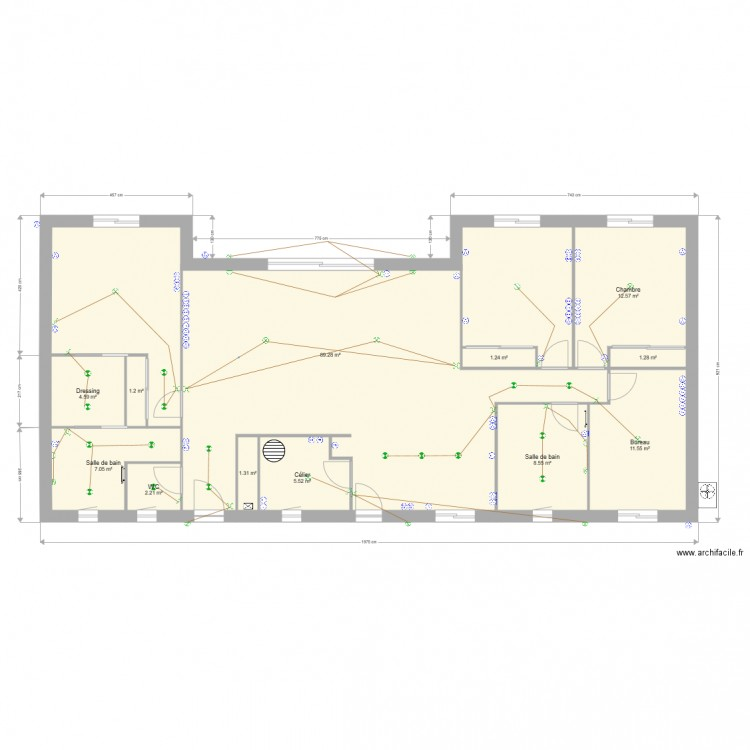 plan electrique maison plan 12 pi ces 146 m2 dessin par lionna79. Black Bedroom Furniture Sets. Home Design Ideas