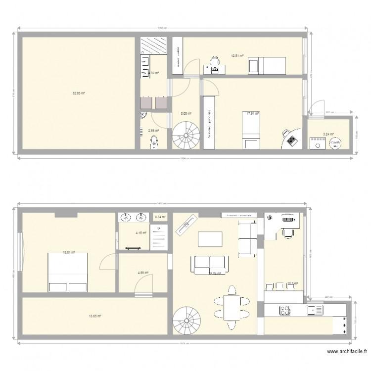 Duplex version 1 plan 14 pi ces 162 m2 dessin par engui5540 for 162 plan
