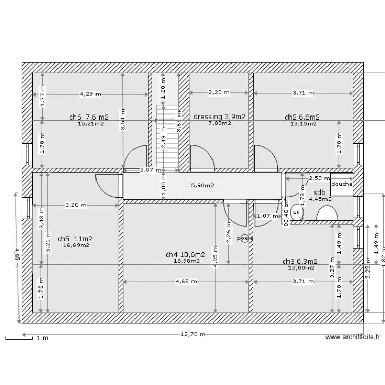 tage du 97m2 50 5m2 plan 9 pi ces 99 m2 dessin par chtibigor. Black Bedroom Furniture Sets. Home Design Ideas