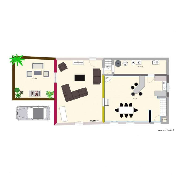 Cuisine salle a manger plan 6 pi ces 114 m2 dessin par for Salle a manger but olivia