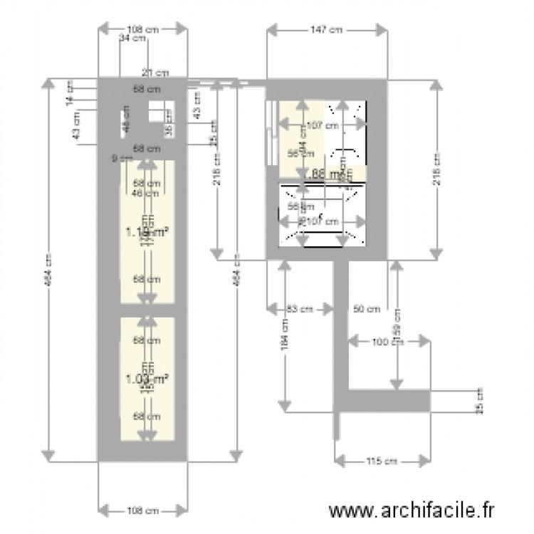 Amenagement salle de bains brune plan 3 pi ces 4 m2 for Salle de bain 4 m2