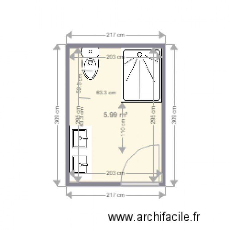salle de bain 7 plan 1 pi ce 6 m2 dessin par florent66550. Black Bedroom Furniture Sets. Home Design Ideas