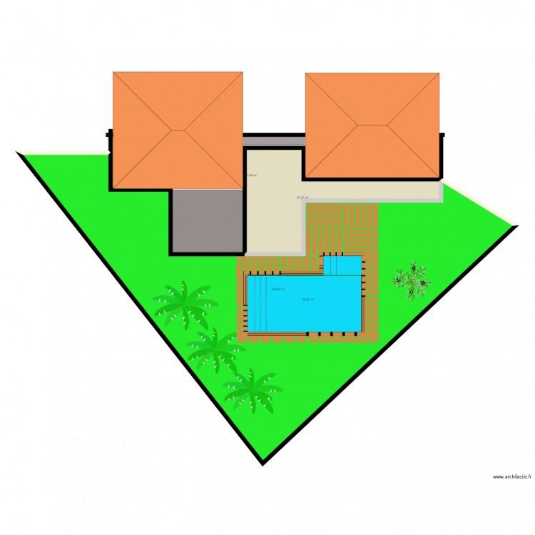 Projet piscine plan 4 pi ces 250 m2 dessin par jugodard for Projet piscine