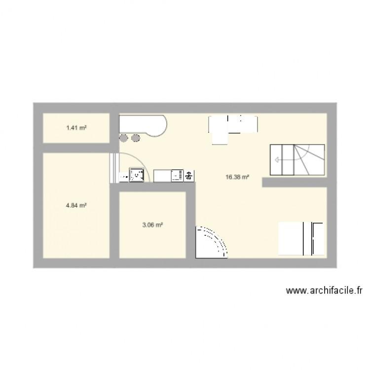 Plan maison plan 4 pi ces 26 m2 dessin par brunette13230 - Plan de maison 2 pieces ...