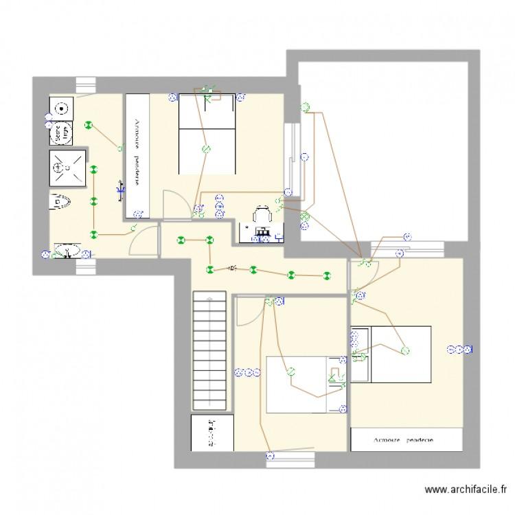 Plan electrique etage plan 5 pi ces 53 m2 dessin par francois - Consommation electrique moyenne maison 140 m2 ...