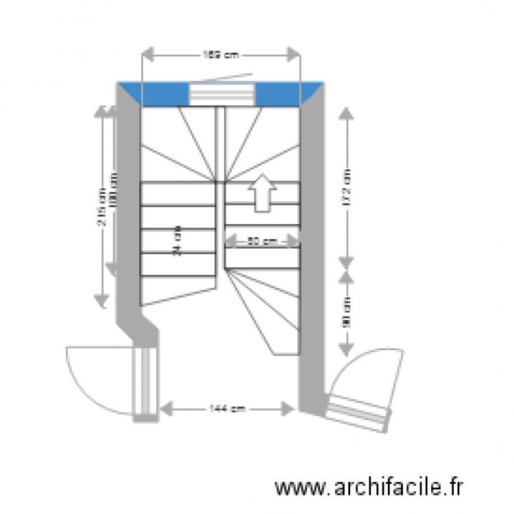 escalier double quart tournant pour projet plan dessin par n2016. Black Bedroom Furniture Sets. Home Design Ideas