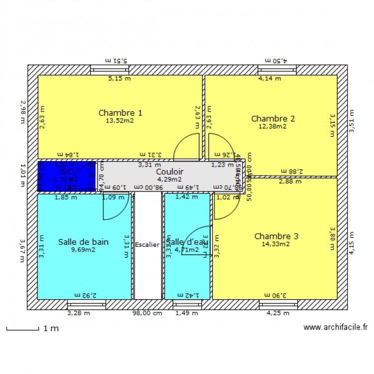 Maison r 1 etage plan 8 pi ces 64 m2 dessin par kabyle93 for Plan maison plain pied 70m2