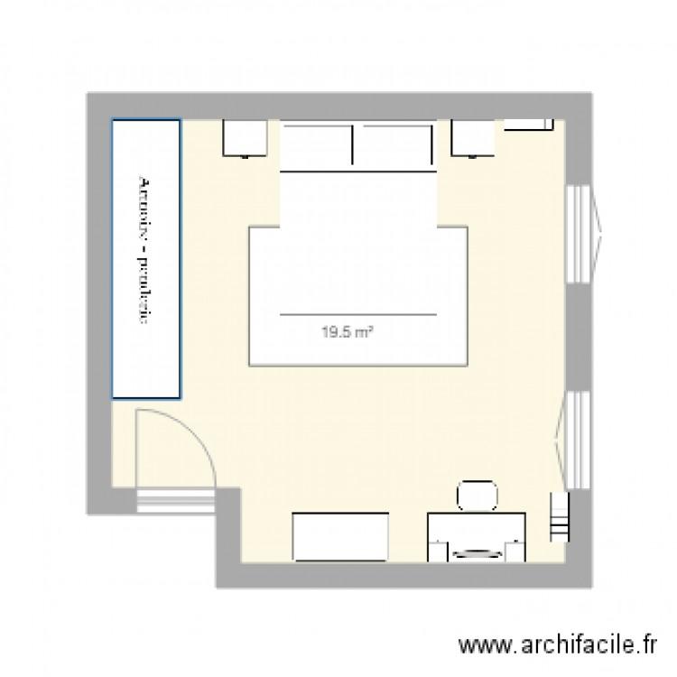 Chambre parentale plan 1 pi ce 20 m2 dessin par les blobus for Taille chambre parentale