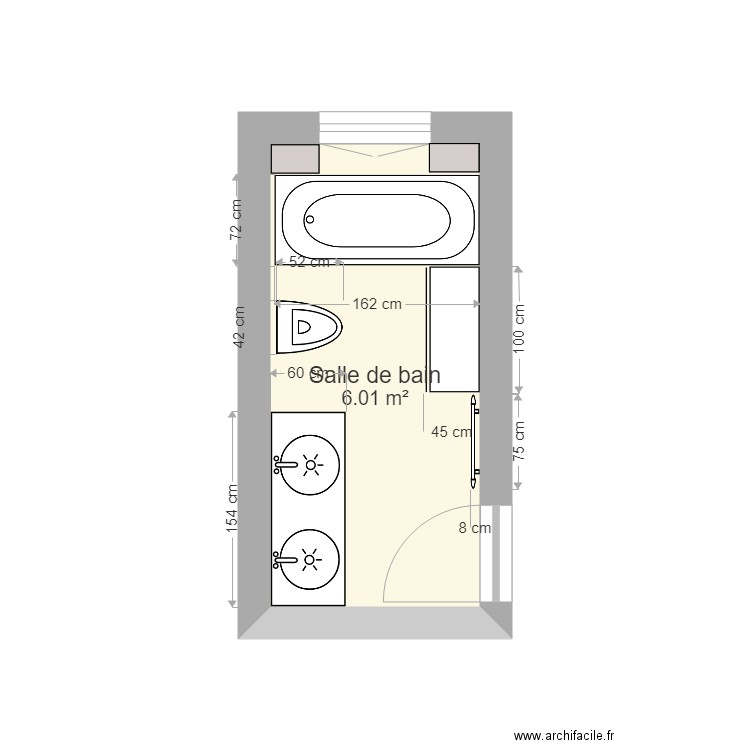salle de bain 1 plan 1 pi ce 6 m2 dessin par akane54. Black Bedroom Furniture Sets. Home Design Ideas
