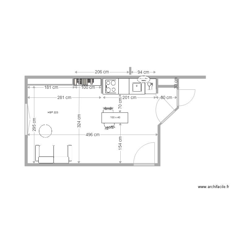 Projet meubles bas 7 avril plan 1 pi ce 17 m2 dessin for Meuble bas four