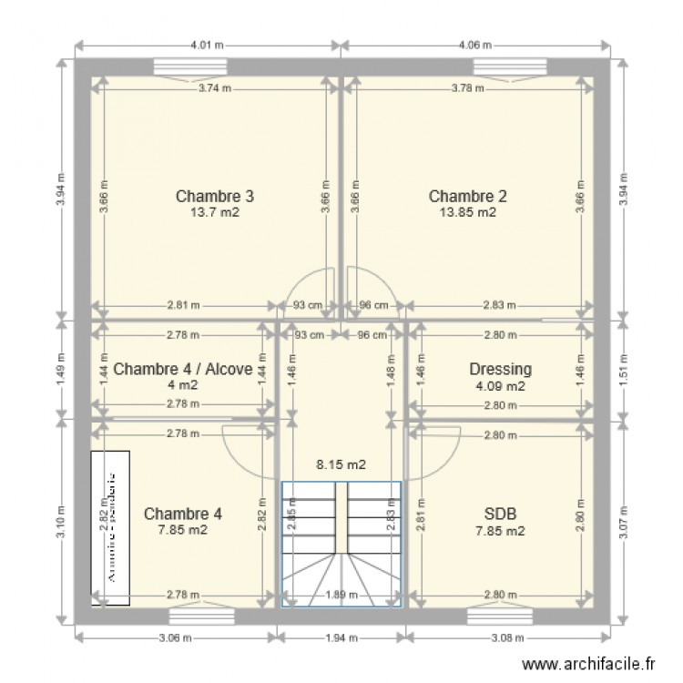 maison et1 plan 7 pieces 59 m2 dessine par x phuong With superior dessiner plan de maison 2 chambre dressing sdb plan 3 piaces 32 m2 dessine par