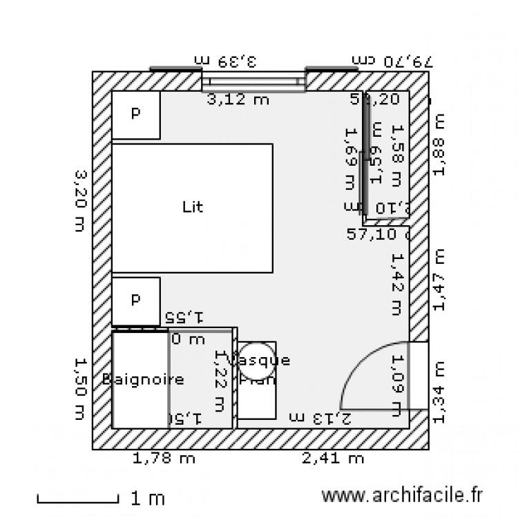 chambre coucher plan 3 pi ces 15 m2 dessin par castillo. Black Bedroom Furniture Sets. Home Design Ideas