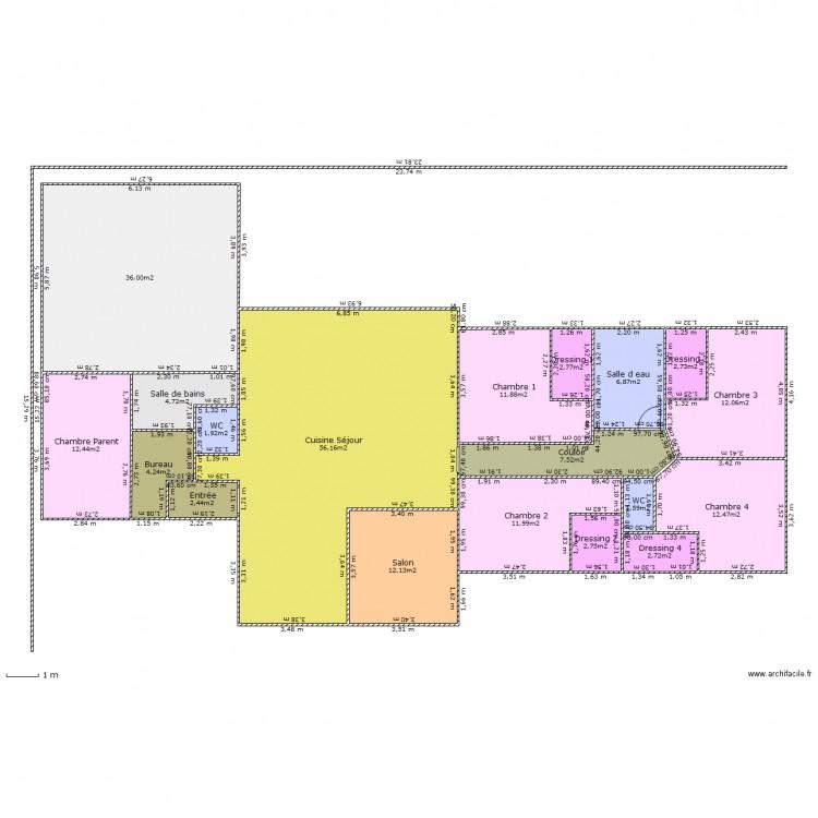 Maison en t plan 19 pi ces 205 m2 dessin par isapierron for Modifier plan maison