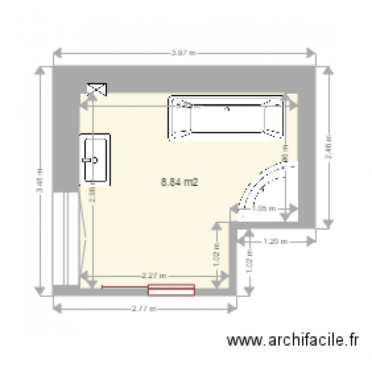 salle de bain actuelle plan 1 pi ce 9 m2 dessin par ipile. Black Bedroom Furniture Sets. Home Design Ideas