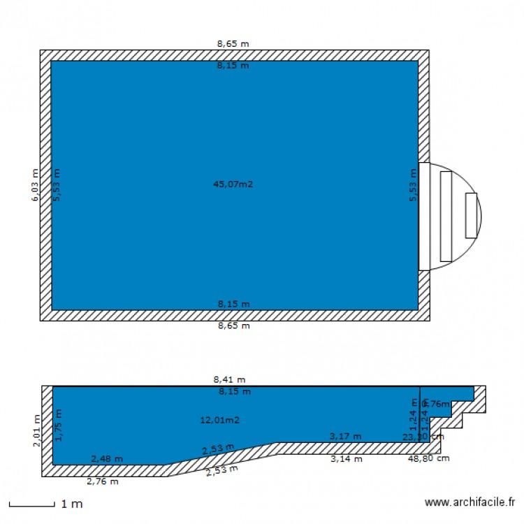 piscine 8mx4m coupe plan 3 pi ces 58 m2 dessin par maxime125. Black Bedroom Furniture Sets. Home Design Ideas