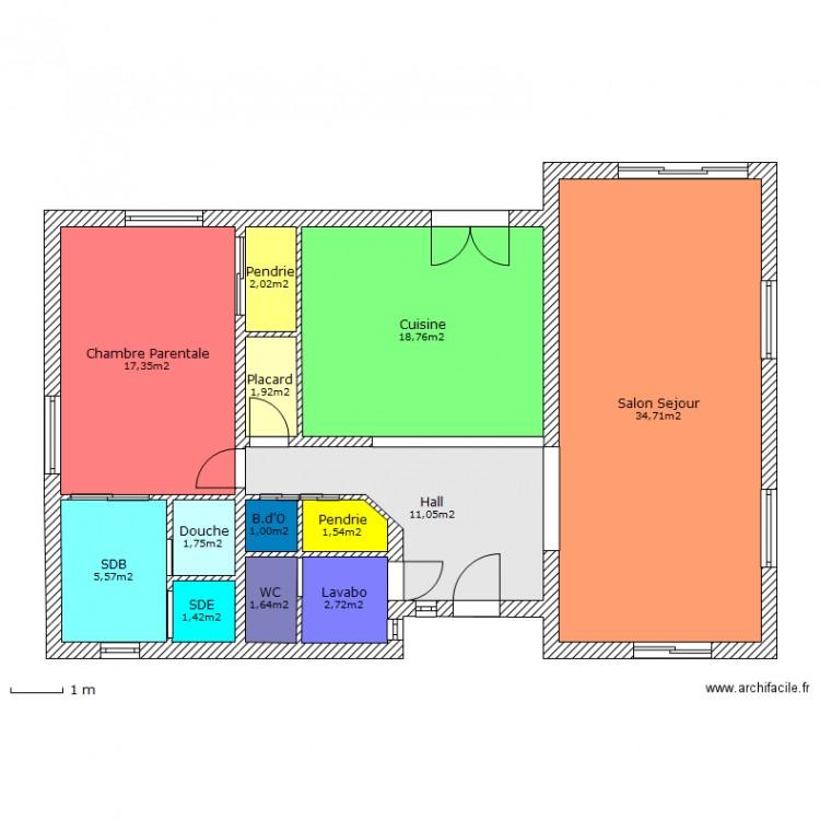 Rdc nico mac placo plan 13 pi ces 101 m2 dessin par tinmar for Archifacile mac
