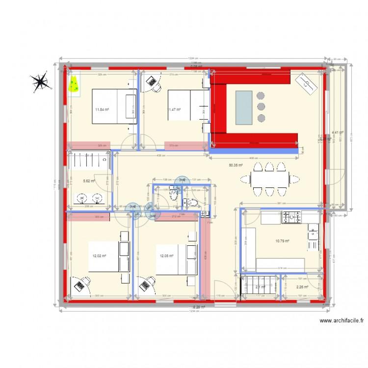 Plan f5 plan 13 pi ces 124 m2 dessin par onclos for Plan de maison f5