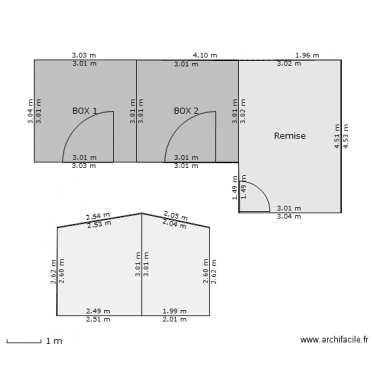 Plan box chevaux et remise plan 5 pi ces 44 m2 dessin for Acheter un box de garage pour le louer