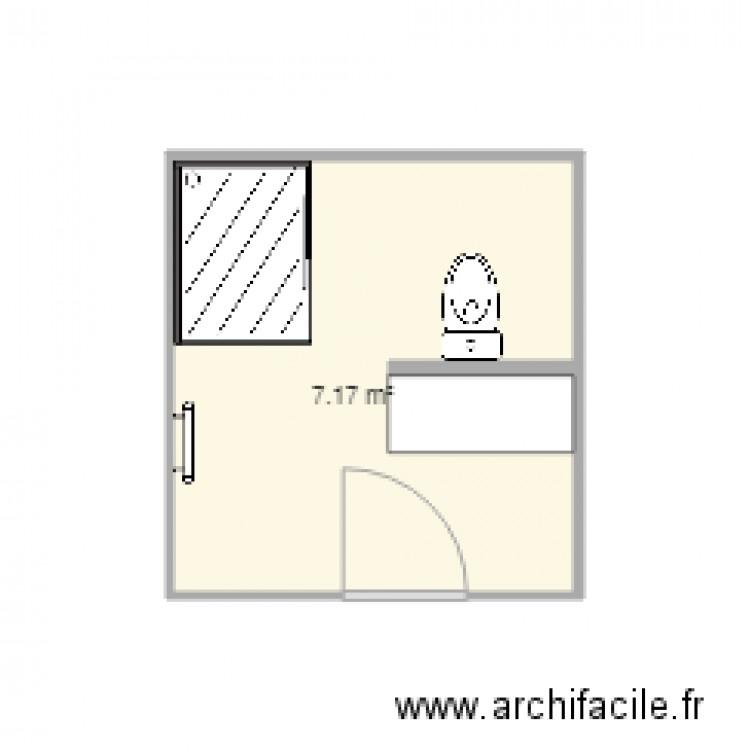 Salle de bains 2 plan 1 pi ce 7 m2 dessin par blavalley - Salle de bain 7 m2 ...