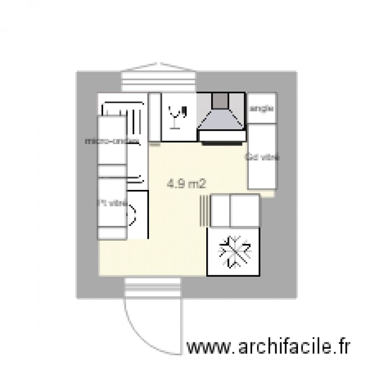 cuisine 9 juin plan 1 pi ce 5 m2 dessin par anne voyer. Black Bedroom Furniture Sets. Home Design Ideas