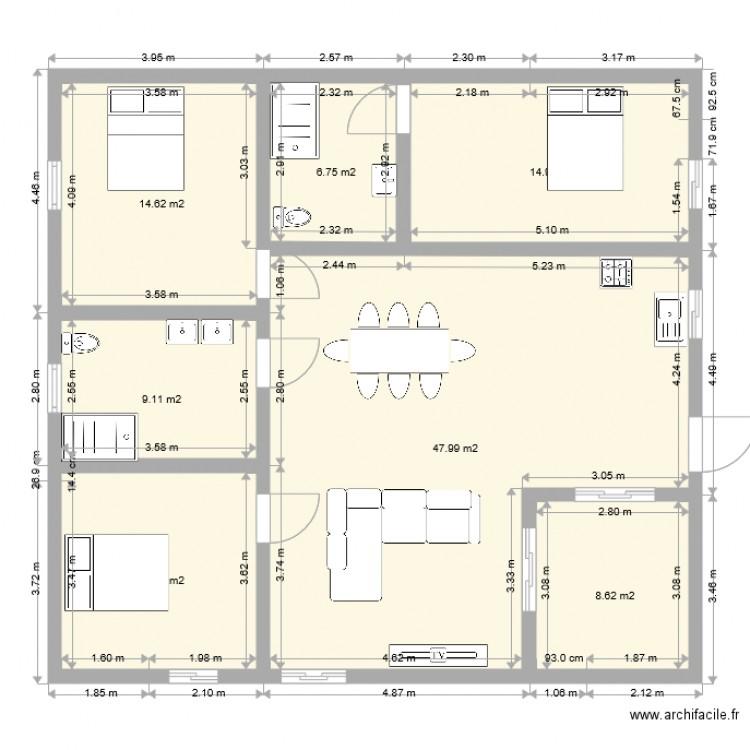 plan maison plain pied plan 7 pi ces 115 m2 dessin par raphael09. Black Bedroom Furniture Sets. Home Design Ideas