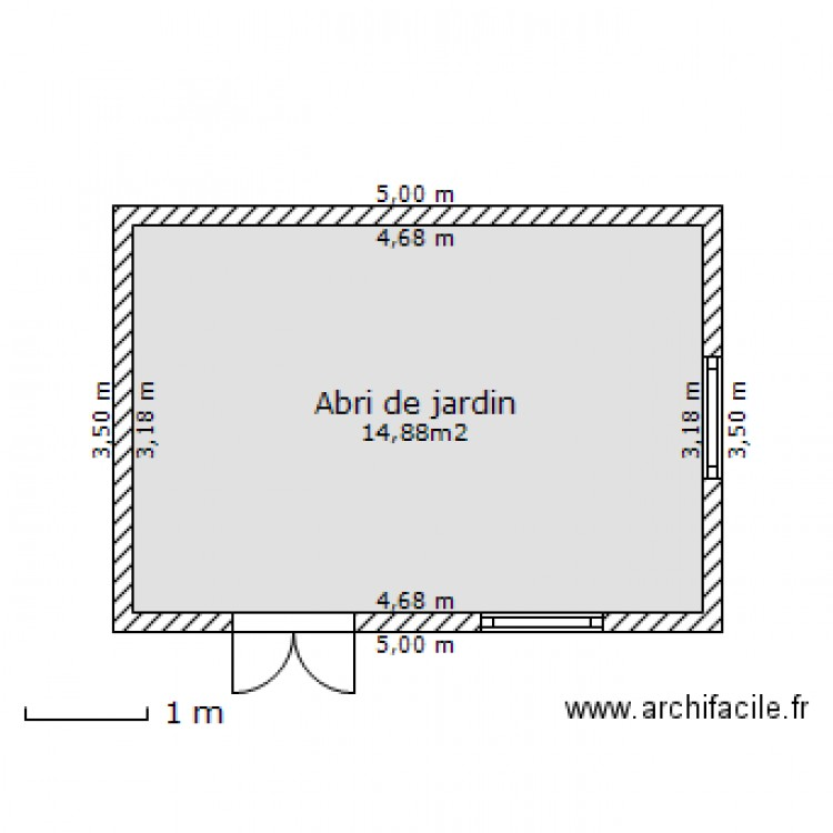 abri de jardin plan 1 pi ce 15 m2 dessin par eloraleeloo. Black Bedroom Furniture Sets. Home Design Ideas