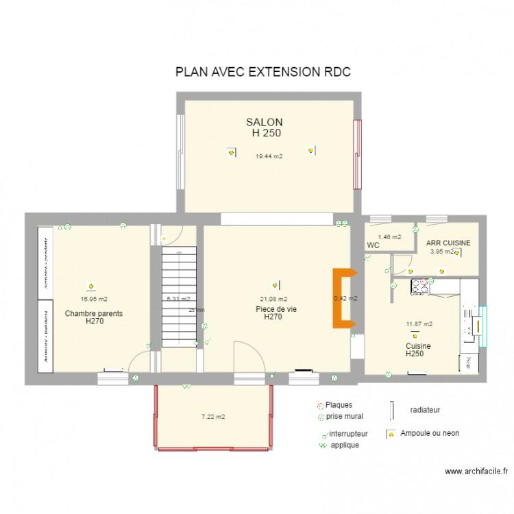 demande de travaux projet extension plan 9 pi ces 88 m2. Black Bedroom Furniture Sets. Home Design Ideas