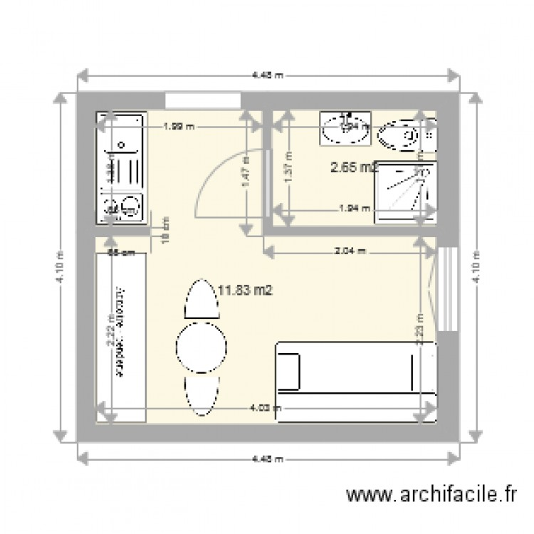 studio 14m2 plan 2 pi ces 14 m2 dessin par x tof 75. Black Bedroom Furniture Sets. Home Design Ideas