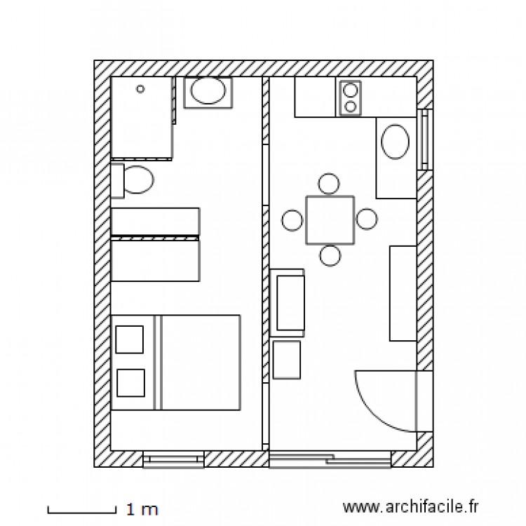 garage studio plan 1 pi ce 25 m2 dessin par popokeo. Black Bedroom Furniture Sets. Home Design Ideas