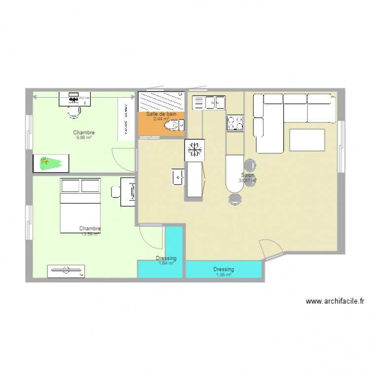 Maison plan 6 pi ces 63 m2 dessin par seifeddine90 for Modifier plan maison