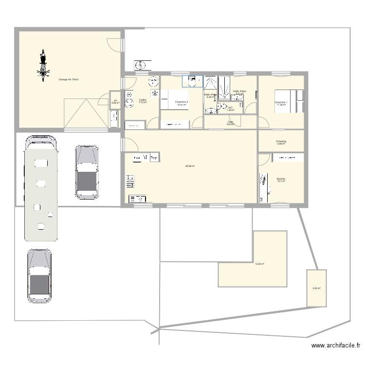 Les buttes plan brut plan 14 pi ces 162 m2 dessin par for 162 plan