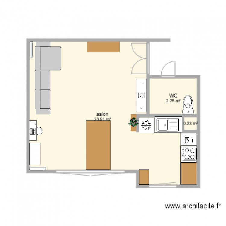 Salon salle manger cuisine plan 3 pi ces 26 m2 dessin for Salon salle a manger 70 m2